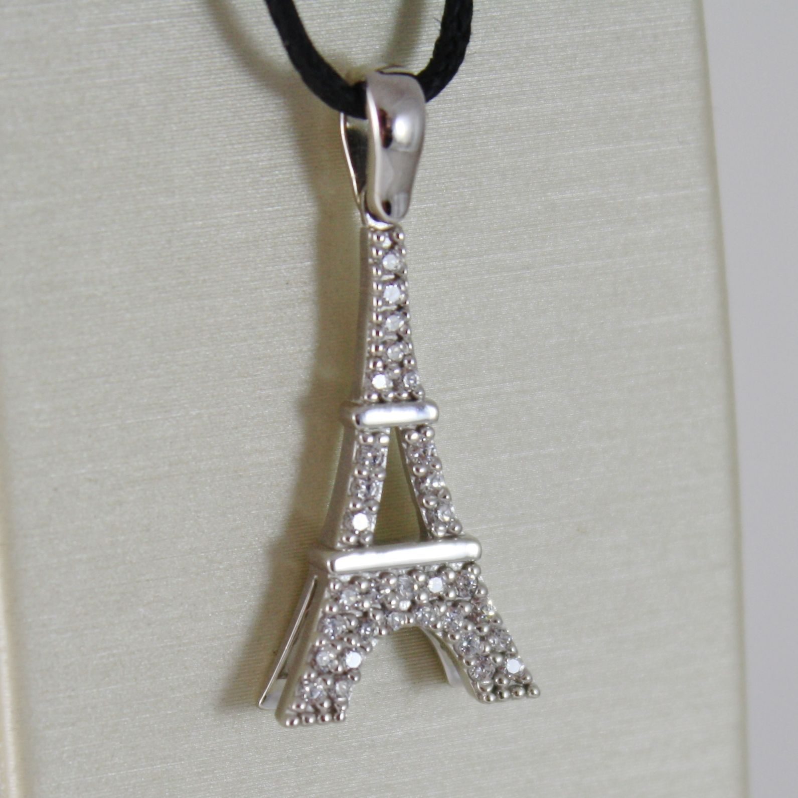 18K WHITE GOLD EIFFEL TOWER PENDANT 27 MM, 1.06 INCHES, ZIRCONIA, MADE IN ITALY