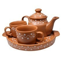 White Dotted Brown Ceramic Clay Tea Pot Tea Plate & 2 Tea Cup Set ?  - $86.00