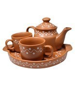 White Dotted Brown Ceramic Clay Tea Pot Tea Plate & 2 Tea Cup Set ?  - £69.64 GBP