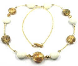 """LONG NECKLACE WHITE YELLOW MURANO GLASS DISC GOLD LEAF, 70cm, 27.5"""" ITALY MADE image 1"""