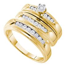 14k Yellow Gold His & Her Round Diamond Matching Bridal Wedding Ring Set - $1,000.00