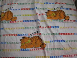 vintage Garfield Twin size Flat Bed Sheet - clean , no damage - $22.00