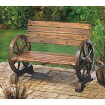 Wagon Wheel Wooden Bench - £164.33 GBP