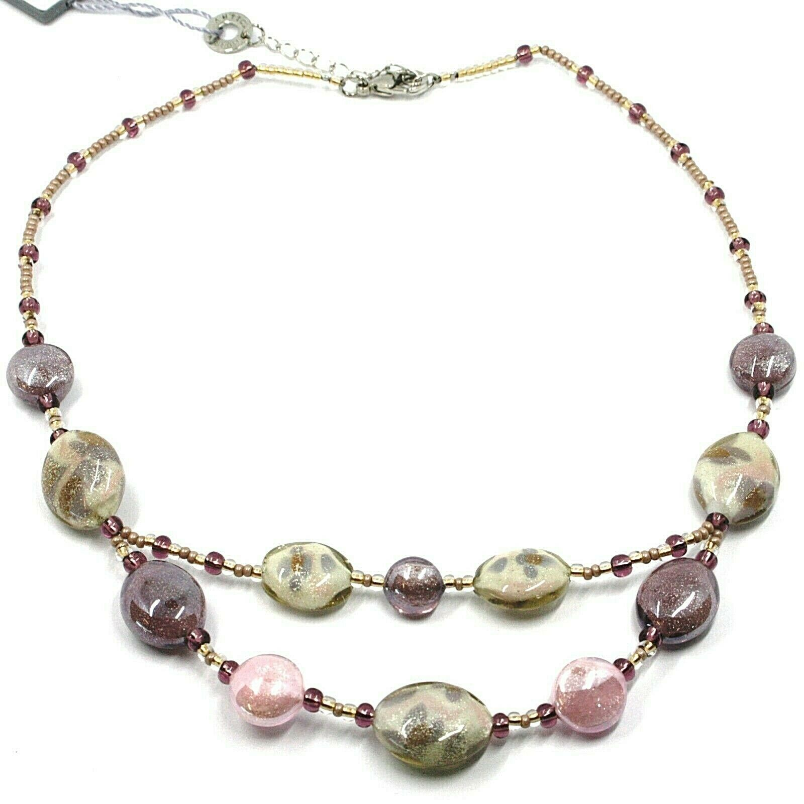 Necklace Antica Murrina Venezia, CO996A03, Ovals Purple, with Flowers,Twin Wire