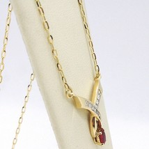NECKLACE YELLOW GOLD 18K, CENTRAL RUBY AND DIAMONDS, CUT PRINCESS, CHAIN image 2