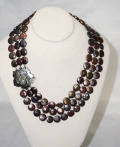 Unique Multi Strand Black AA Coin Pearl Bib Necklace Flower Closure - $80.73