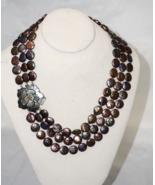 Unique Multi Strand Black AA Coin Pearl Bib Necklace Flower Closure - $80.73