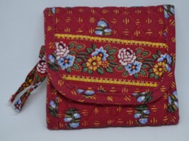 """Vera Bradley Retired Provincial Red Wallet 4"""" wide closed - $11.40"""