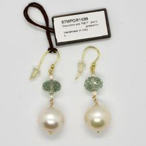 Yellow Gold Earrings 18k 750 pearls freshwater and Prasiolite Made in Italy image 3