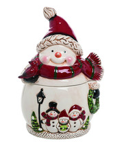 Frosty Snowman Cookie Jar Christmas Holiday Whimsical Decor - $29.95