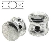 Czech Glass Pellet Beads 4 x 6mm Bright Silver (30) - $6.29