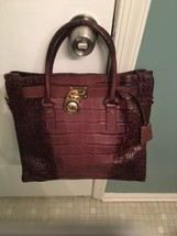 Michael Kors Hamilton NS Croc Crocodile Embossed Brown Ombre Leather Large Tote  - $130.00