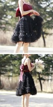 Black Knee Length Layered Tulle Skirt Plus Princess Tulle Skirt Holiday Outfit image 8