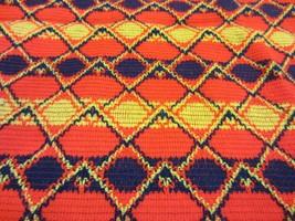 Vtg Retro 60's Hippie Boho Bright Orange Yellow Blue Upholstery Craft Fa... - $31.24