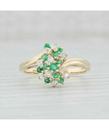 14k Yellow Gold Over 0.49 ctw Emerald & Diamond Cluster Bypass Band Ring - $96.74