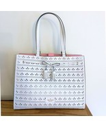 Kate Spade Perforated Leather Shoulder Tote Bag ~ White Hayes Perf Bow ... - $164.95