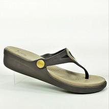 Crocs Sanrah Womens Brown And Gold Medallion Thong Flip Flops Sandals Si... - $24.99