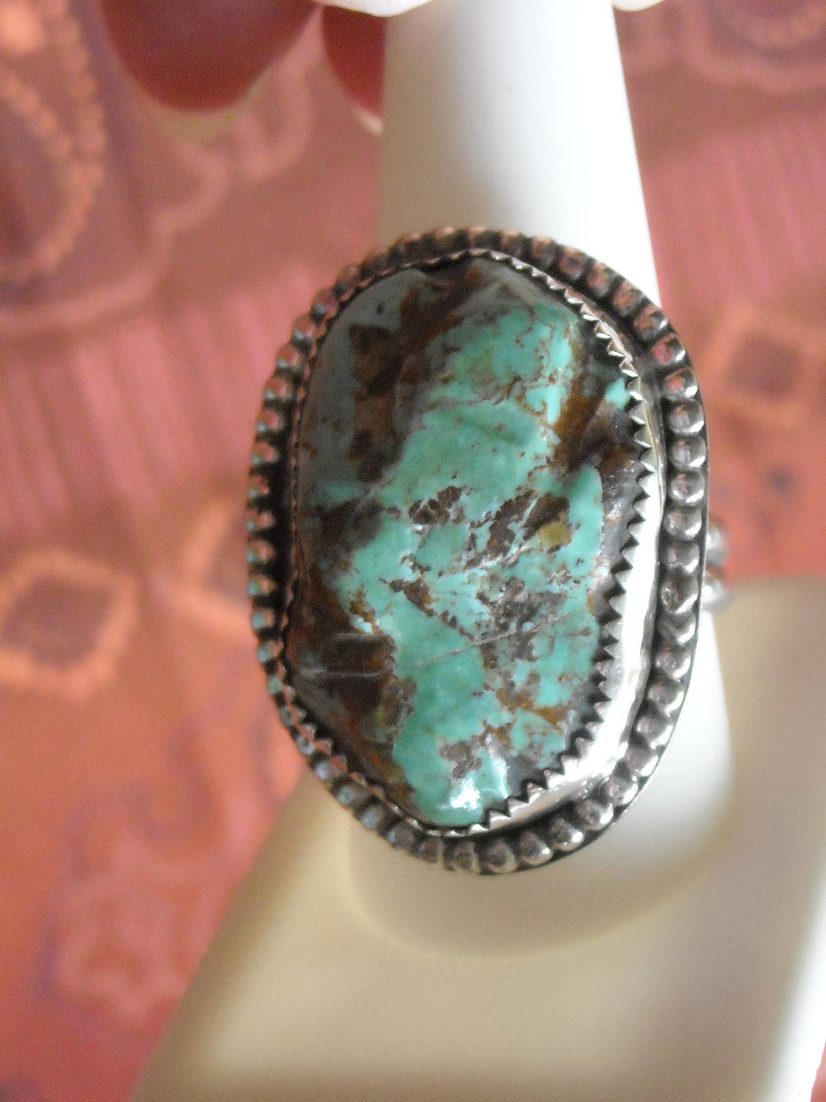 Primary image for Vintage Ring Sterling Silver Handcrafted Polished Green Turquoise (10.5)