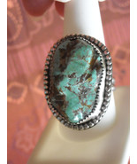 Vintage Ring Sterling Silver Handcrafted Polished Green Turquoise (10.5) - $89.95