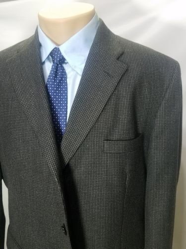 HAGGAR COLLECTIONS MEN'S ASH WOOL BLEND WEAVE PATTERN 3 BUTTONS SPORT COAT 44R