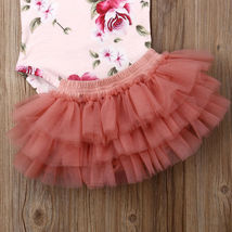 Newborn Baby Girl Floral Romper Tulle Skirts Outfits Cupcake Dress Summer Set To image 4