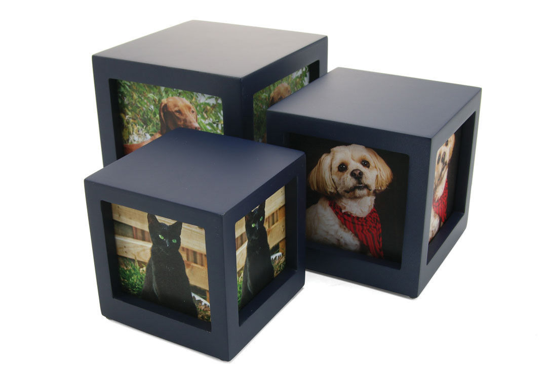 Small/Keepsake Navy Photo Cube Funeral Cremation Urn, 85 Cubic Inches