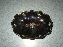 VTG Redware Moriage Trinket Dish Bowl Floral W/Gold Trim Painted Accents... - $8.29