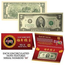 2019 Lunar Chinese New YEAR of the PIG Lucky U.S. $2 Bill w/ Red Folder ... - $10.84