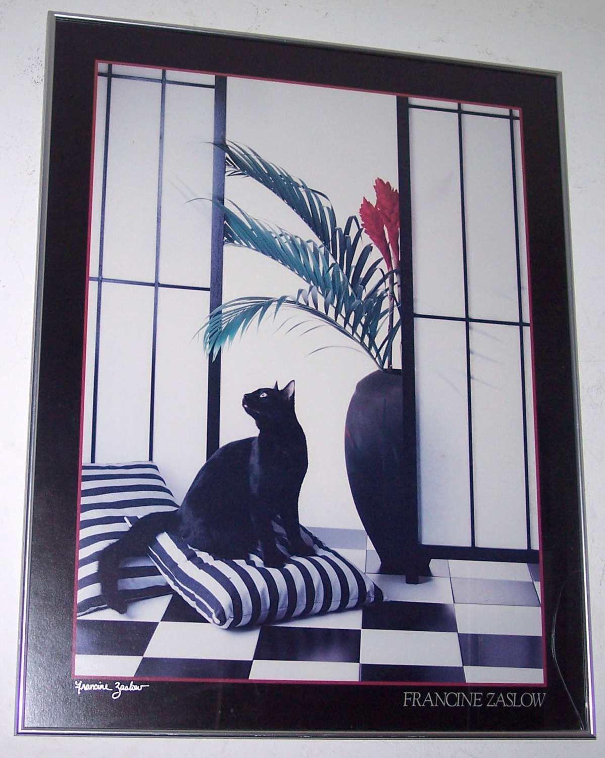 "Francine Zaslow  Untitled Titled ""The Black Cat"" Litho Poster Board-Signed"
