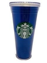 Starbucks Tall Tumbler Blue Glitter Clear Lid 20 Fl Oz No Straw - $12.86