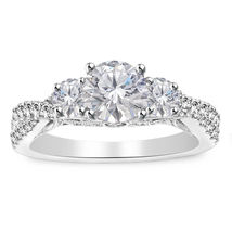 White Sim Diamond White Gold Over 925 Silver Engagement Three Stone Ring... - $39.59