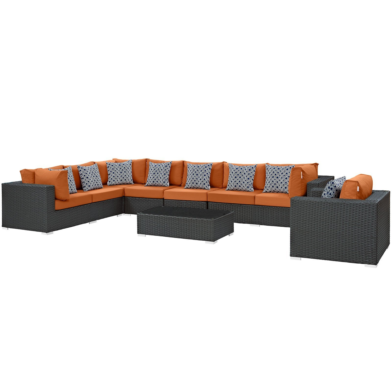 Sojourn 7 Piece Outdoor Patio Sunbrella® Sectional Set Chocolate Tuscan EEI-23