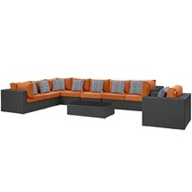 Sojourn 7 Piece Outdoor Patio Sunbrella® Sectional Set Chocolate Tuscan ... - $3,459.25
