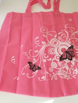 Pink Butterfly Reusable Foldable Shopping Bag Tote Set Pouch Light Weight - $6.99