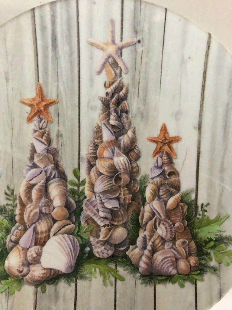 "Christmas Nautical Appetizer Tidbit Melamine Plates 6"" set of 4 Beach Shell Tree"