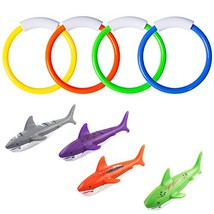 8 Pcs Underwater Swimming Pool Diving Rings, Diving Throw Torpedo Bandit... - $10.48