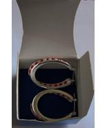 TWISTED Simulated RUBY BIRTHSTONE LOOP EARRINGS  in GIFT BOX NEW - $14.85