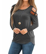 MISSLOOK Women's Cold Shoulder Tops Long Sleeve Shirts Crew Neck Casual ... - $17.80