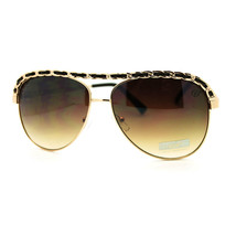 Leather Weave Chain Flat Top Classic Women's Aviator Sunglasses - Brown - $7.67