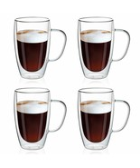 SMLIXE 16oz/4 pack Coffee Mugs,Clear Glass Double Wall Cup with handle f... - $65.99+