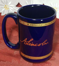VINTAGE PRESIDENTIAL LIBRARY & MUSEUM SEAL OF ABRAHAM LINCOLN MUG GOLD FOIL BLUE image 3