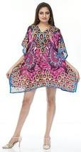 Digital Short Decorative Flower Kaftan~Beach Top~Free Size Hippy Caftan Dress - $8.59