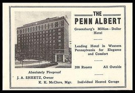 Penn Albert Hotel Ad Greensburg Pennsylvania 1926 Roadside Photo Ad Travel - $10.99