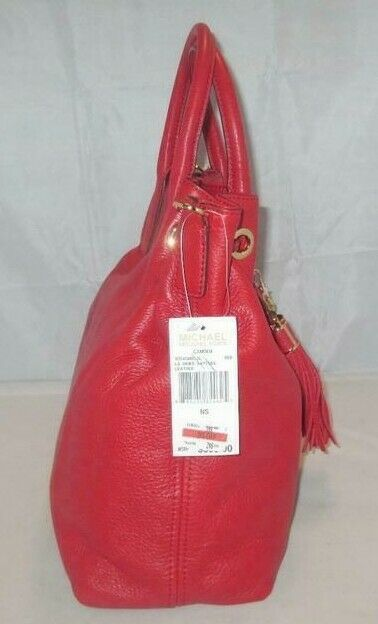 MICHAEL KORS CAMDEN LEATHER DRAWSTRING RED GOLD CROSSBODY LARGE SATCHEL BAG NWT image 6