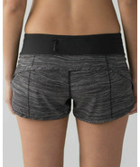 "Lululemon Run: Speed Short *2.5"" Size 4 Bit Point Ice Grey Black Shorts ... - $39.59"