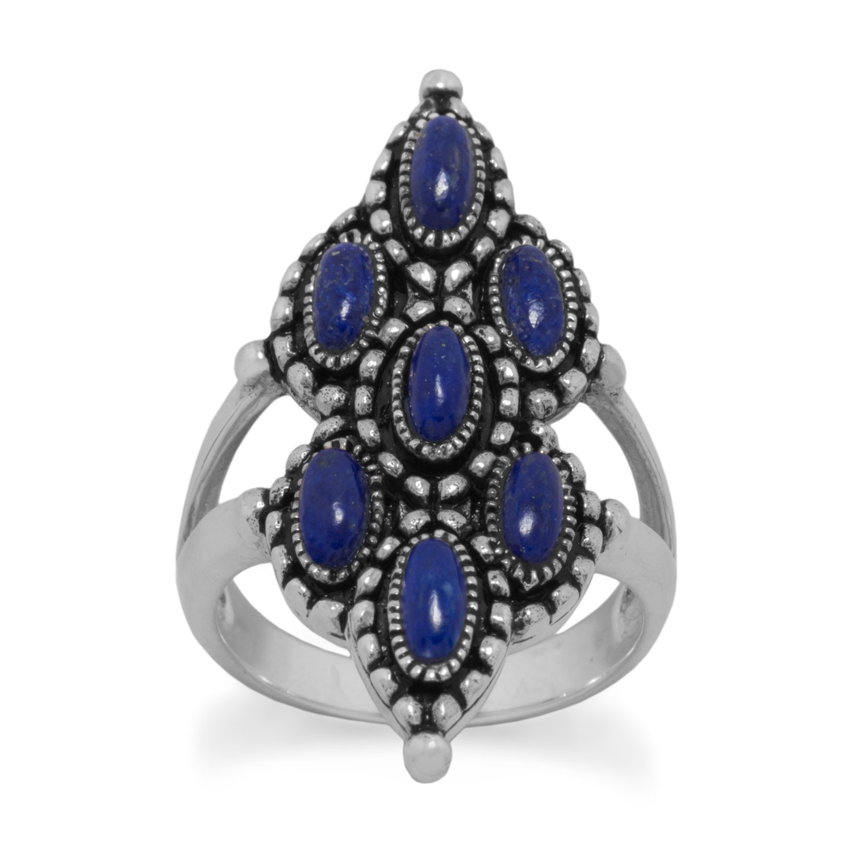 83705 ornate oxidized lapis ring