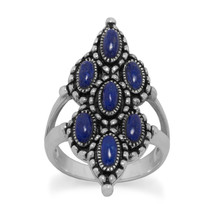Ornate Sterling Silver Lapis Ring - €66,58 EUR