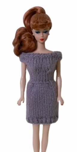 Barbie Doll Clothes Knit Lavendar Off Shoulder Sweater Dress Handmade