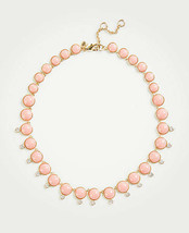 "Ann Taylor Statement Necklace Luminous Pink Stone Crystal Crop 16"" Lobster Claw - $29.69"