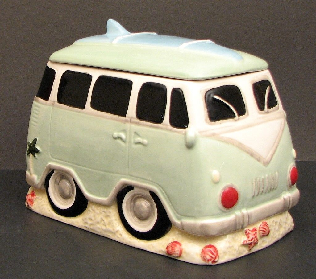 Surfer VW Van Ceramic Cookie Jar / Canister Kitchen Decor. Last one in Stock!!